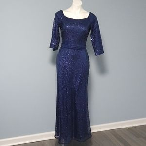 David Meister Blue Sequin Lace Gown size 4 NWOT